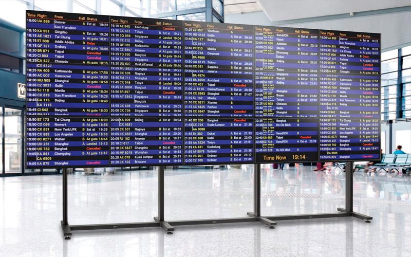 Videowall op vliegveld